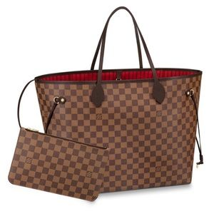 Authentic Louise Vuitton Neverfull Bag and Clutch